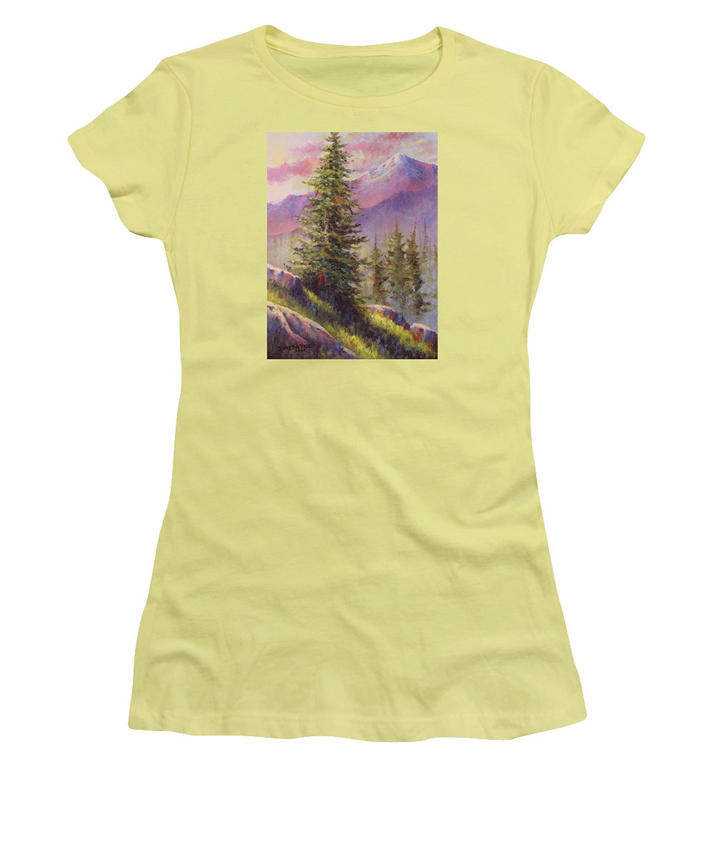 Mountain Women's T-Shirt (Athletic Fit) featuring the painting Vista View by David G Paul