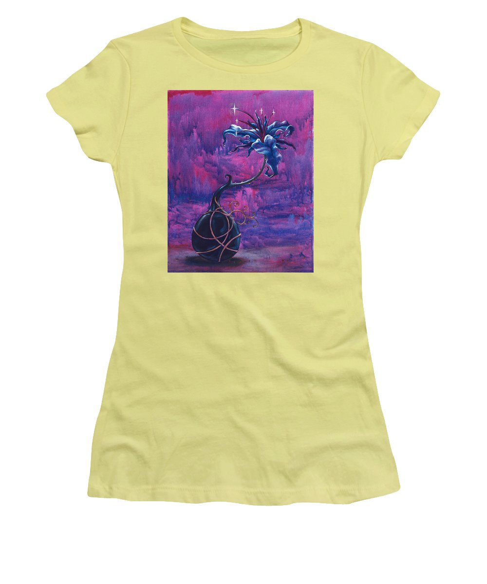 Lily Women's T-Shirt (Athletic Fit) featuring the painting Waiting Flower by Jennifer McDuffie