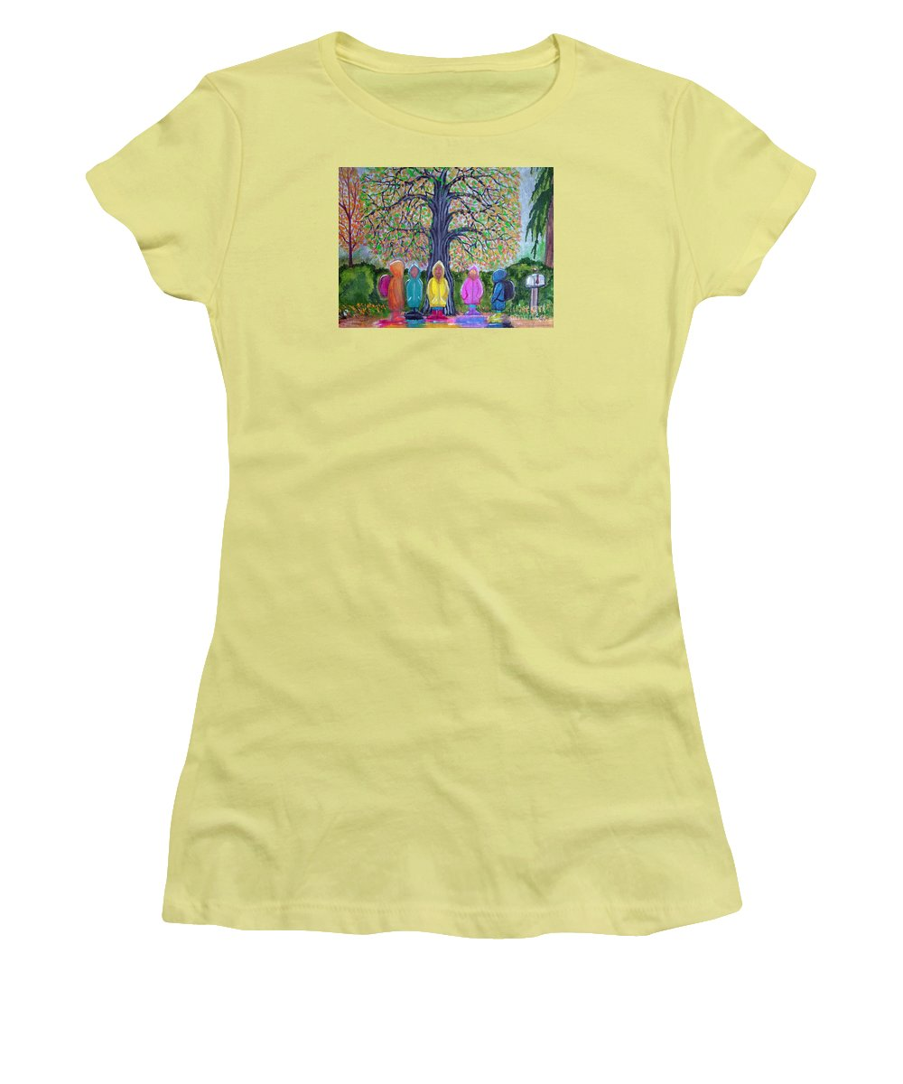 Children Women's T-Shirt (Athletic Fit) featuring the painting Waiting For The Bus by Nick Gustafson