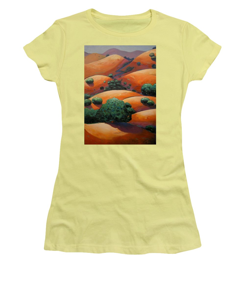 California Landscape Women's T-Shirt (Athletic Fit) featuring the painting Warm Afternoon Light On Ca Hillside by Gary Coleman