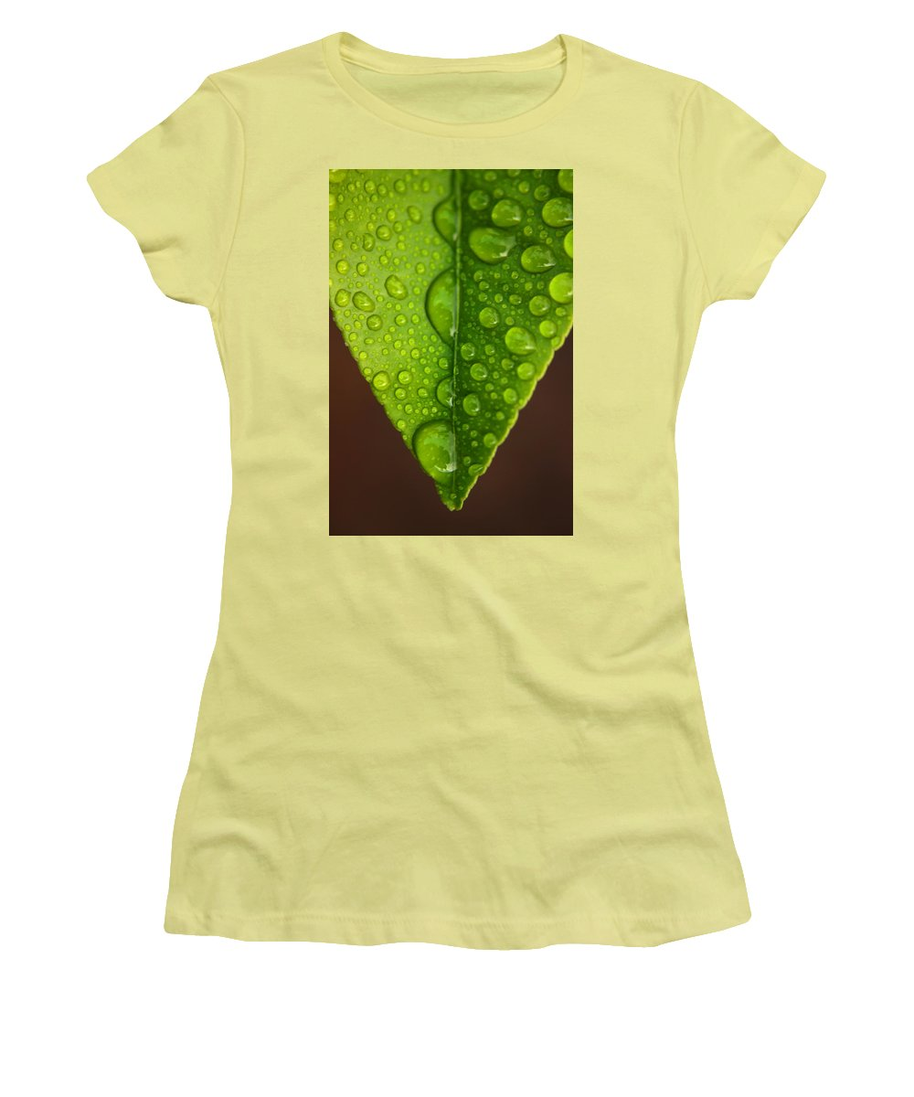 Leaf Women's T-Shirt (Athletic Fit) featuring the photograph Water Droplets On Lemon Leaf by Ralph A Ledergerber-Photography