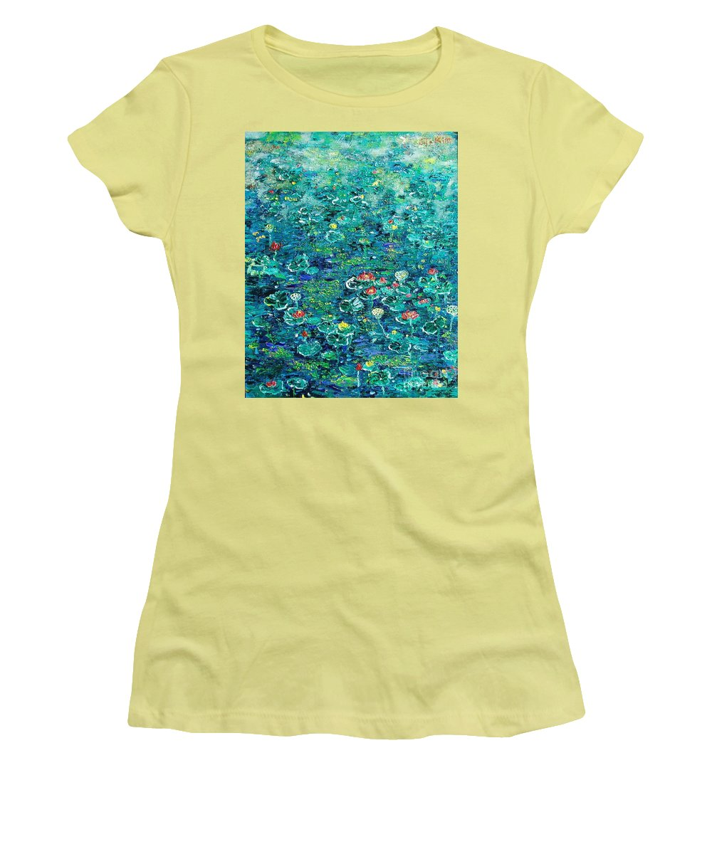 Water Lily Paintings Women's T-Shirt (Athletic Fit) featuring the painting Water Lilies Lily Pad Lotus Water Lily Paintings by Seon-Jeong Kim