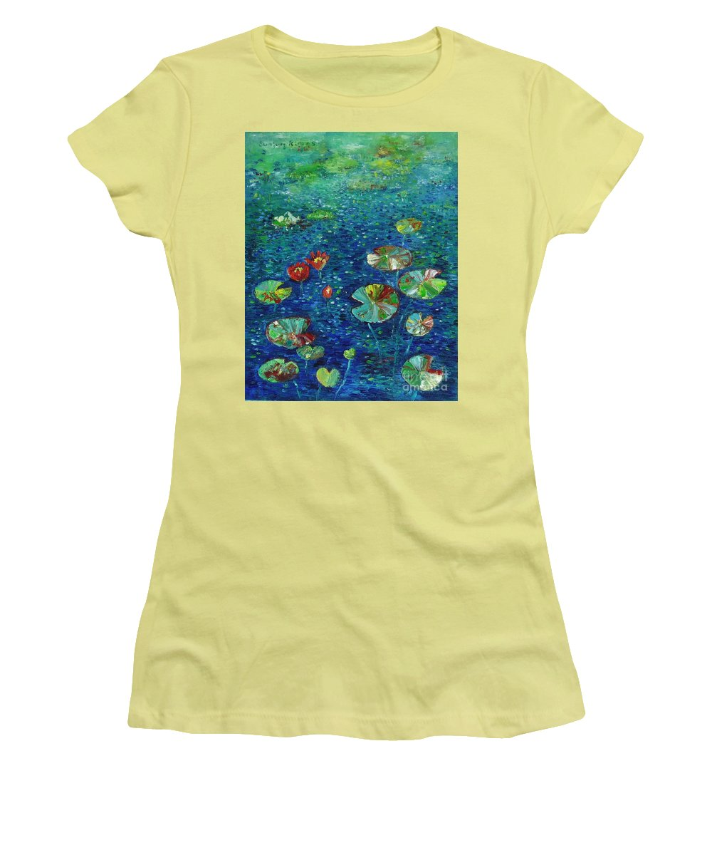 Lotus Paintings Women's T-Shirt (Athletic Fit) featuring the painting Water Lily Lotus Lily Pads Paintings by Seon-Jeong Kim