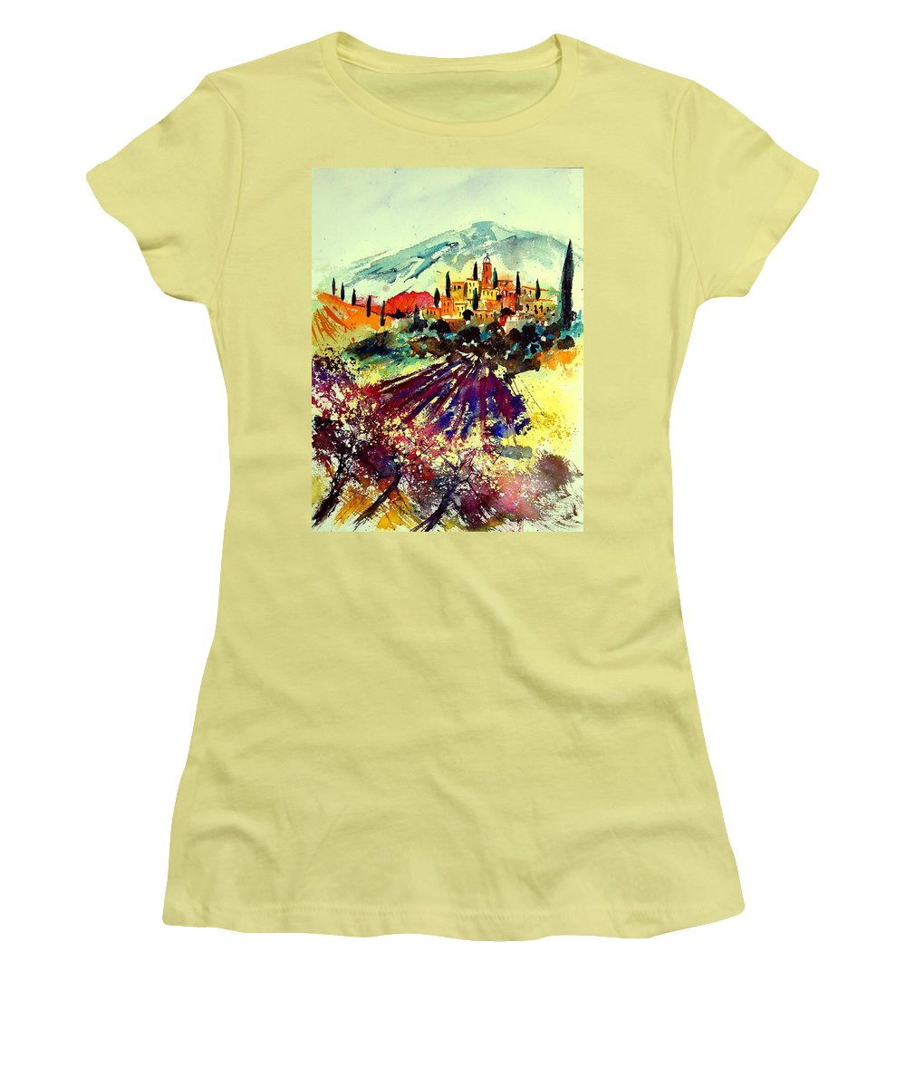 Poppies Women's T-Shirt (Athletic Fit) featuring the painting Watercolor Provence 07 by Pol Ledent