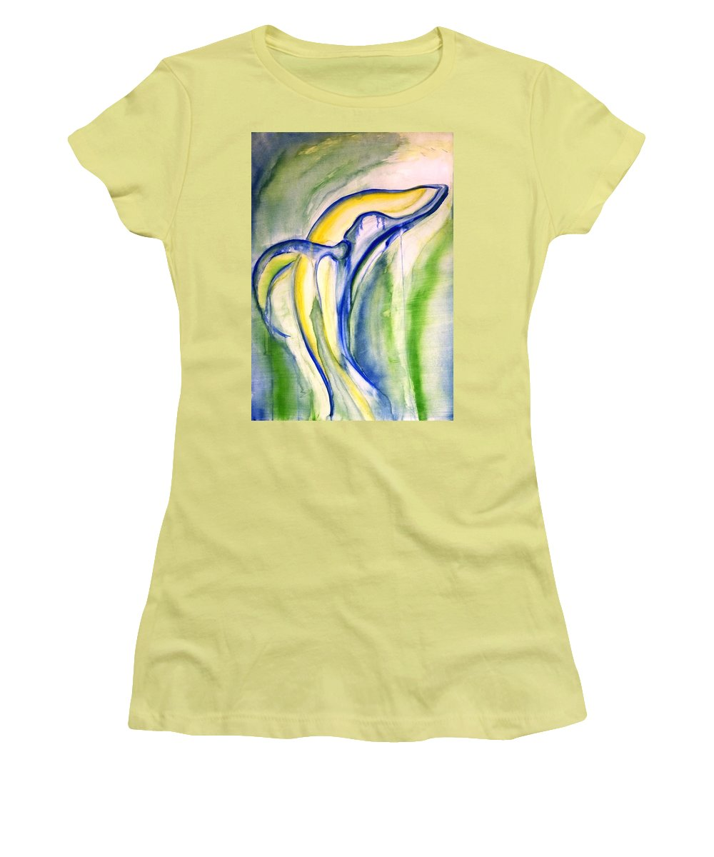 Watercolor Women's T-Shirt (Athletic Fit) featuring the painting Whale by Sheridan Furrer