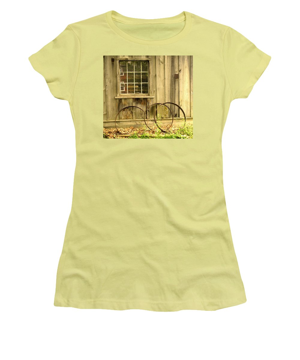 Wheel Rims Women's T-Shirt (Athletic Fit) featuring the photograph Wheel Rims by Ian MacDonald