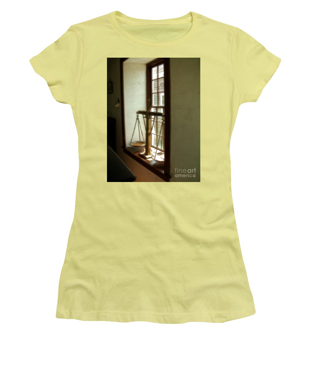 Window Women's T-Shirt (Athletic Fit) featuring the painting Where Be His Quiddits Now? by RC DeWinter