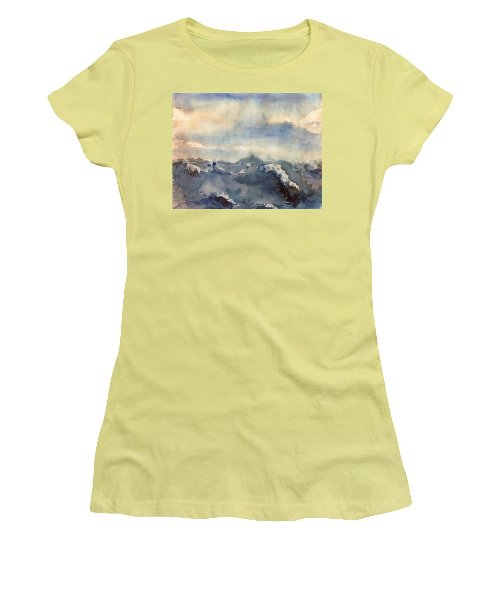 Seascape Women's T-Shirt (Athletic Fit) featuring the painting Where Sky Meets Ocean by Steve Karol