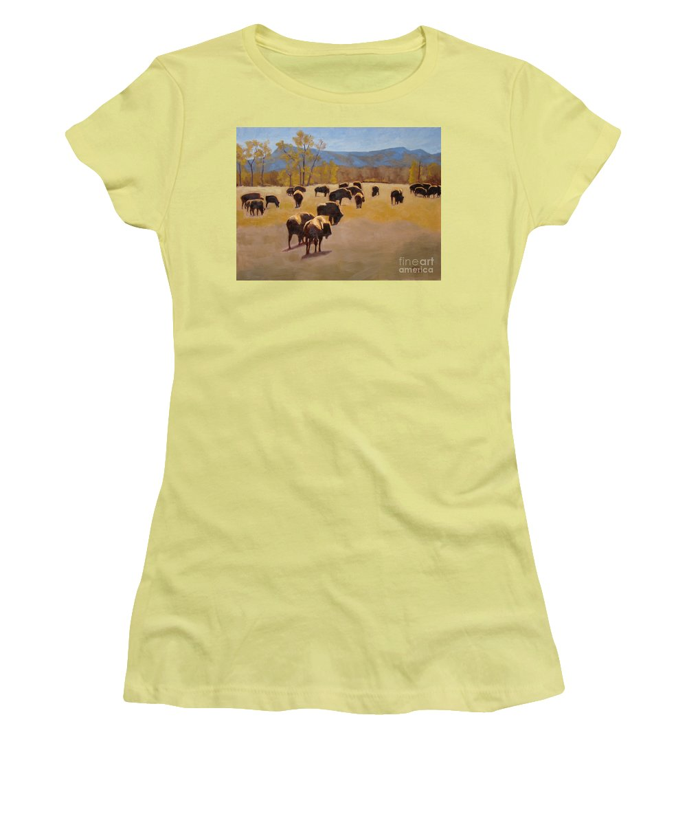 Buffalo Women's T-Shirt (Athletic Fit) featuring the painting Where The Buffalo Roam by Tate Hamilton