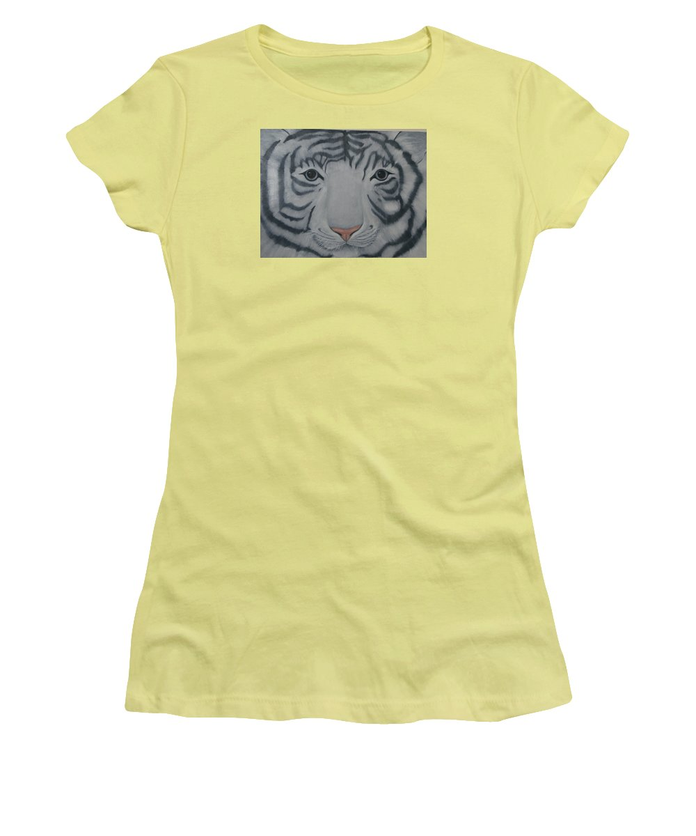 White Tiger Women's T-Shirt (Athletic Fit) featuring the painting White Tiger by Toni Berry