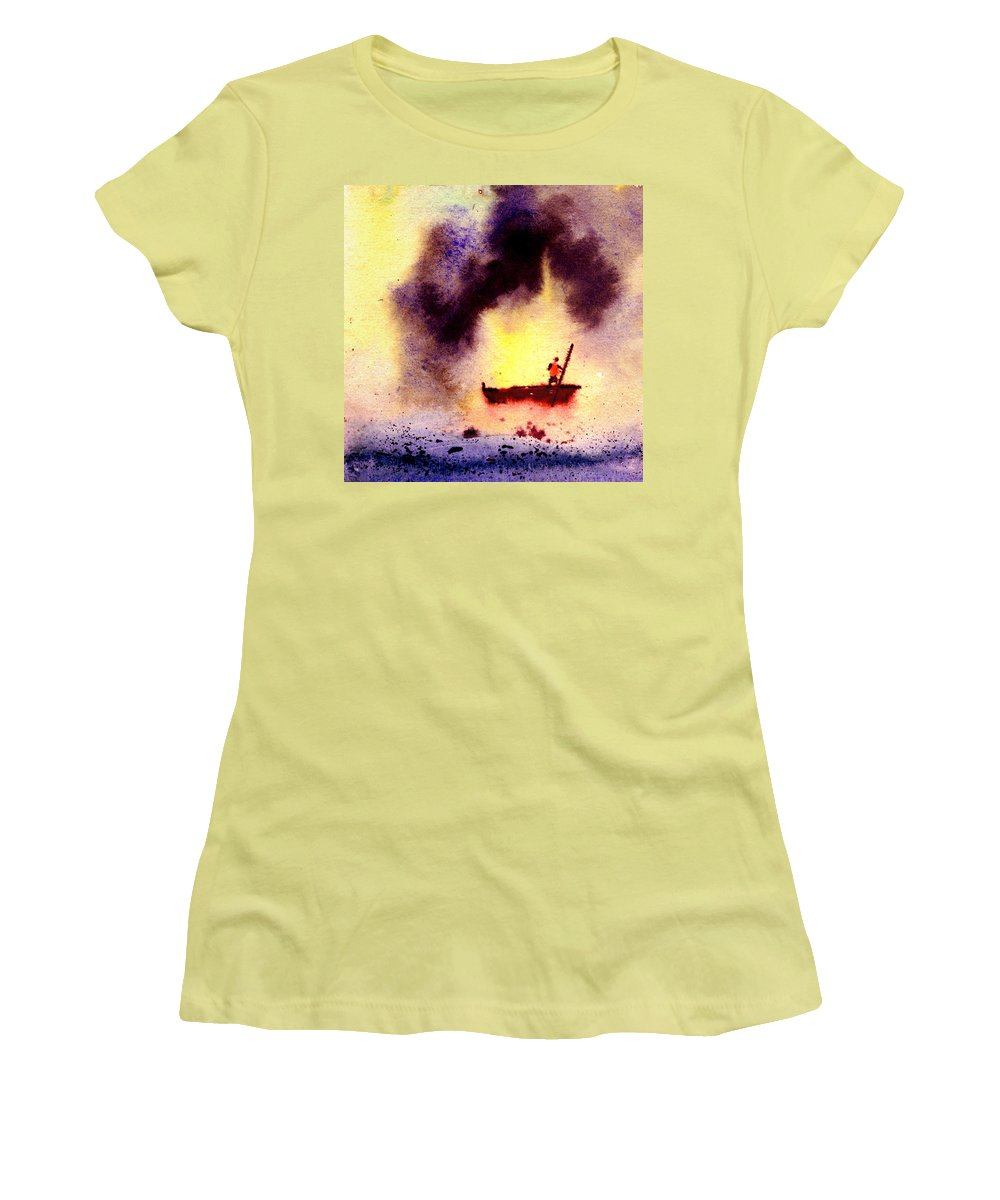 Landscape Women's T-Shirt (Athletic Fit) featuring the painting Will Power by Anil Nene