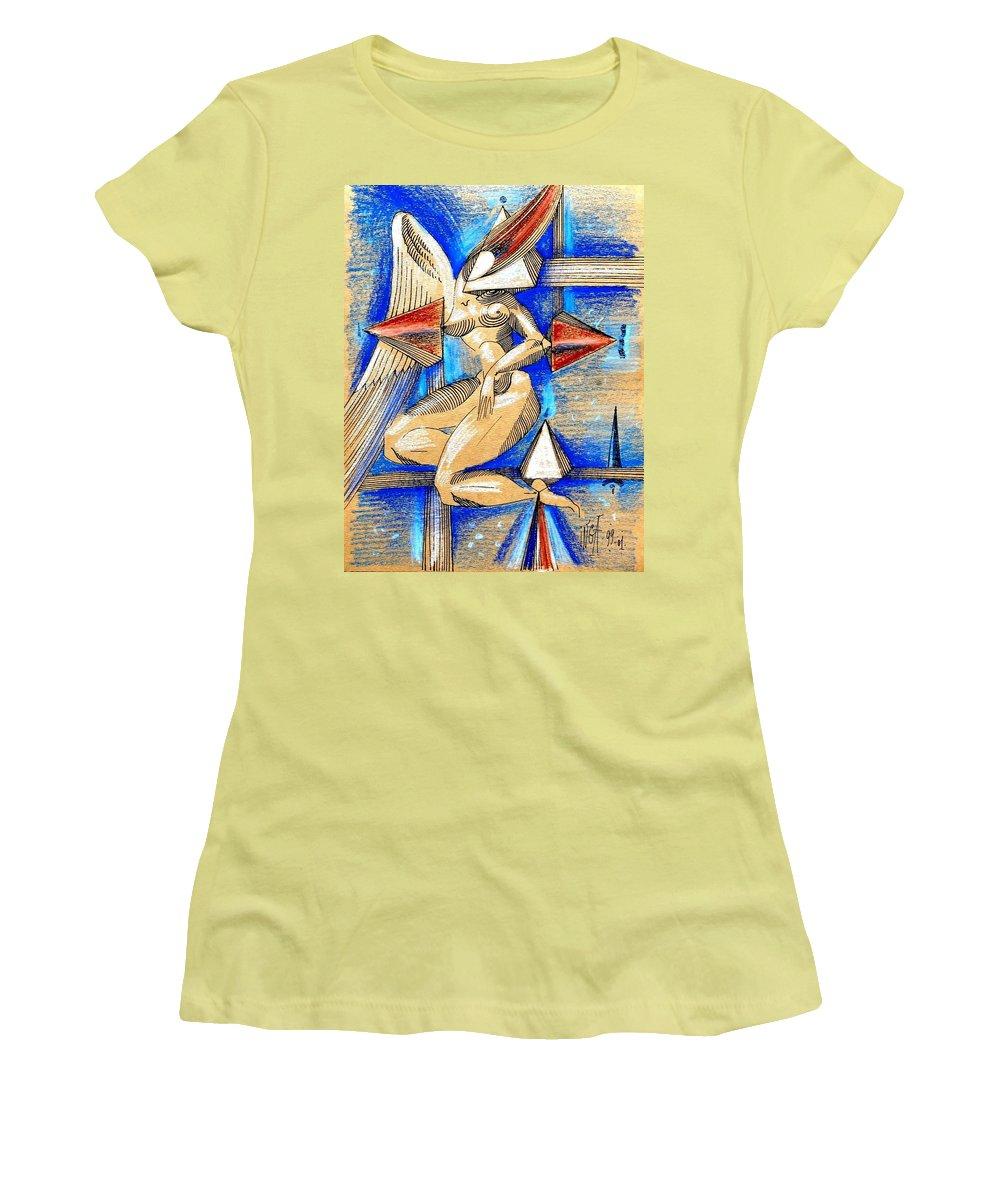Inga Vereshchagina Women's T-Shirt (Athletic Fit) featuring the drawing Winged Space by Inga Vereshchagina