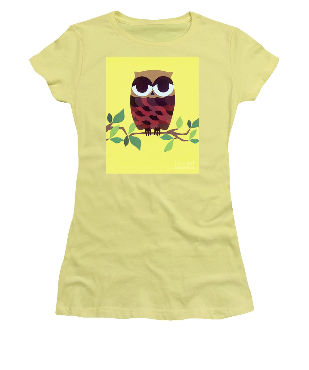 Nature Women's T-Shirt (Athletic Fit) featuring the drawing Wise Owl by Lucyna A M Green