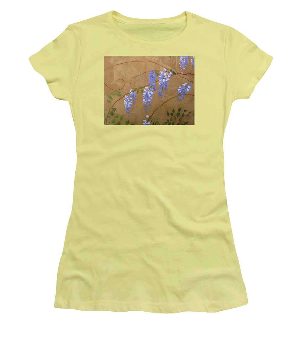 Periwinkle Wisteria Flowers Women's T-Shirt (Junior Cut) featuring the painting Wisteria by Leah Tomaino