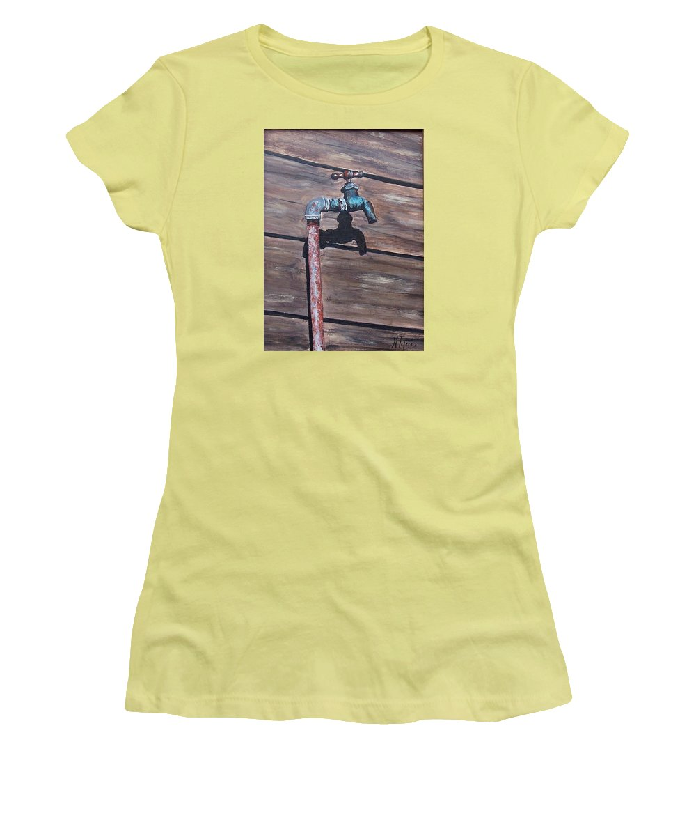 Still Life Metal Old Wood Women's T-Shirt (Athletic Fit) featuring the painting Wood And Metal by Natalia Tejera