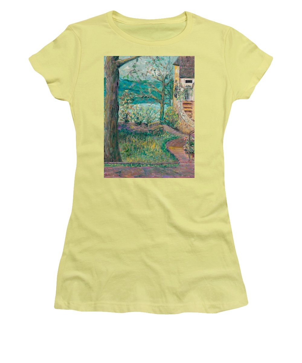 Big Cedar Lodge Women's T-Shirt (Athletic Fit) featuring the painting Worman House At Big Cedar Lodge by Nadine Rippelmeyer