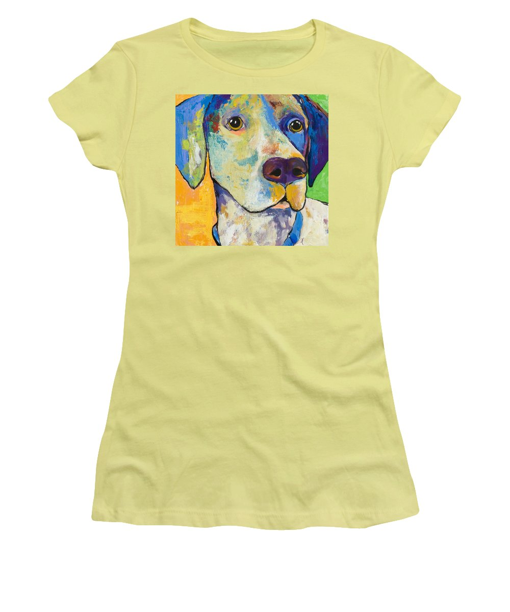German Shorthair Animalsdog Blue Yellow Acrylic Canvas Women's T-Shirt (Athletic Fit) featuring the painting Yancy by Pat Saunders-White