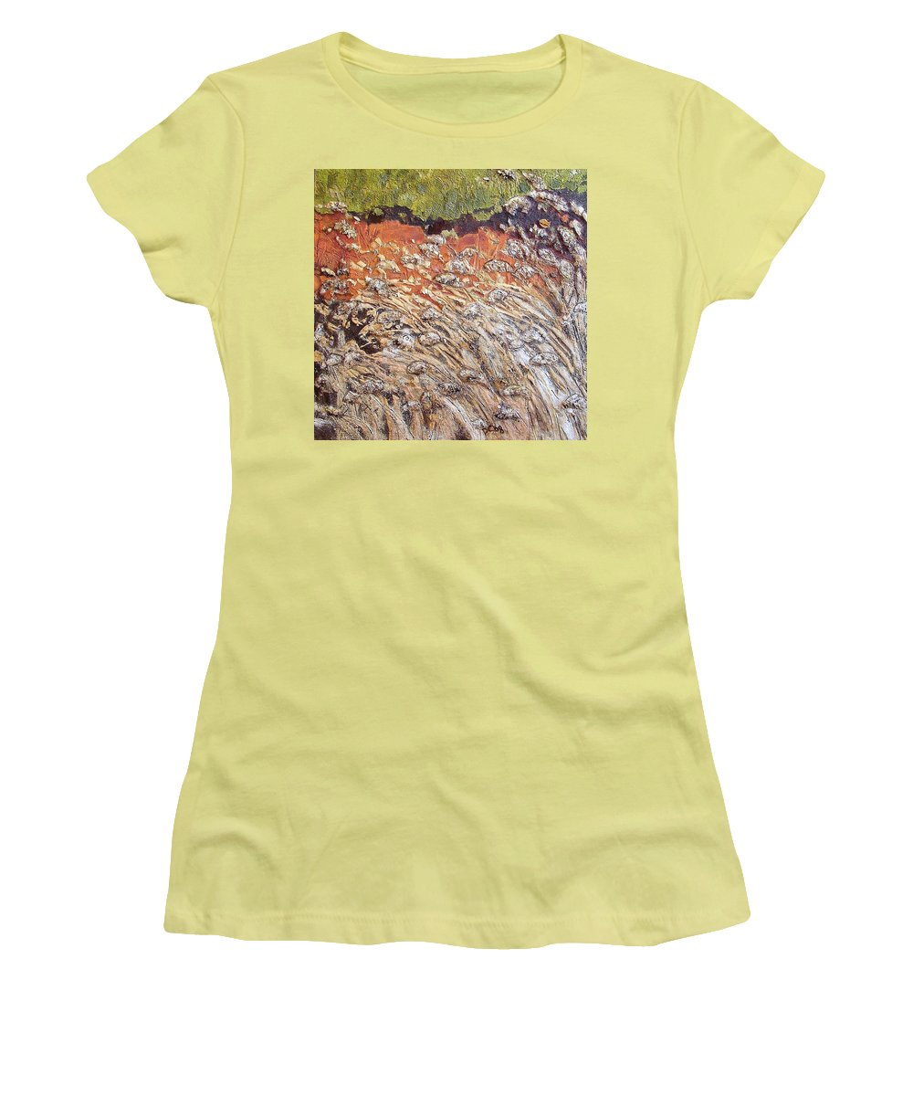 Abstract Women's T-Shirt (Athletic Fit) featuring the painting Yearning by Piety Choi