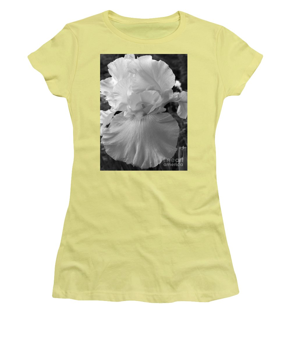 Iris Women's T-Shirt (Athletic Fit) featuring the photograph Yellow And White Iris In Bw by Kathy McClure