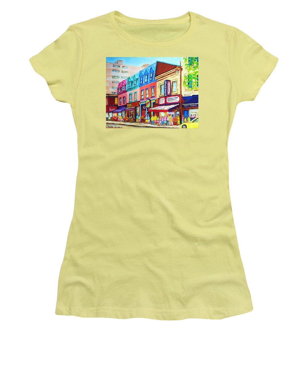Reastarant Women's T-Shirt (Athletic Fit) featuring the painting Yellow Car At The Smoked Meat Lineup by Carole Spandau