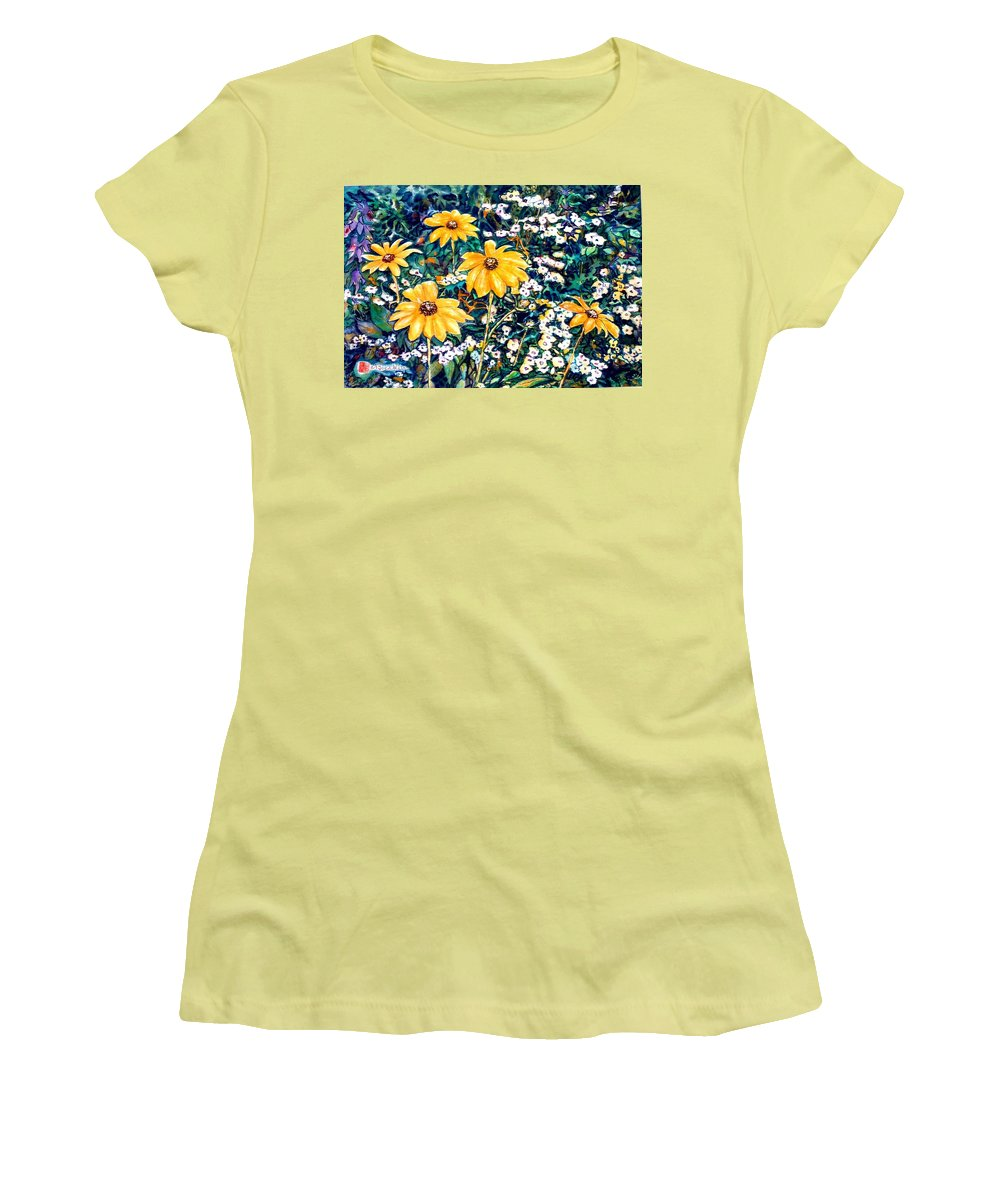 Daisies Women's T-Shirt (Athletic Fit) featuring the painting Yellow Daisies by Norma Boeckler