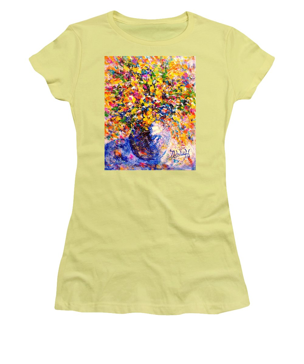Flowers Women's T-Shirt (Athletic Fit) featuring the painting Yellow Sunshine by Natalie Holland