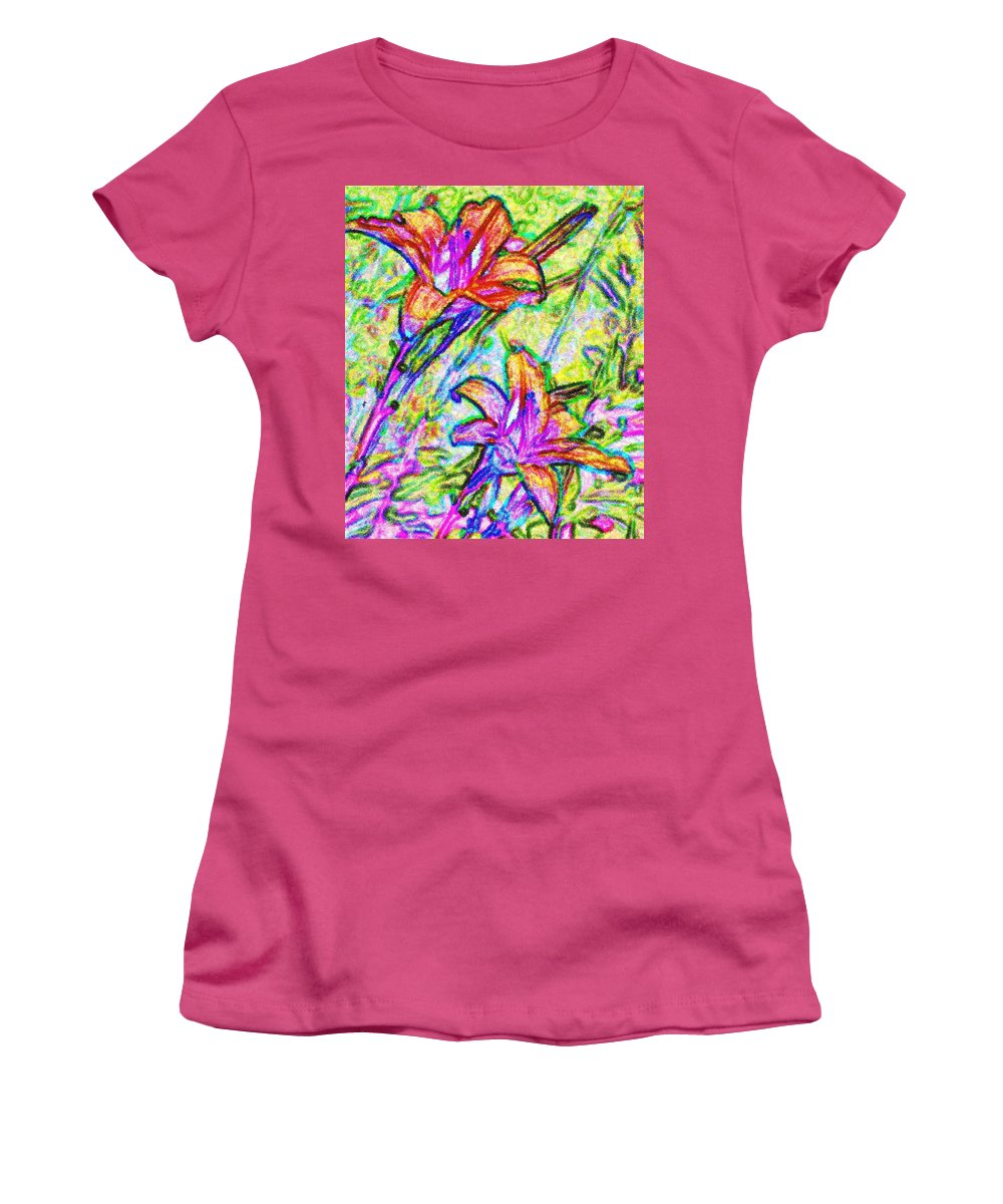 Tiger Women's T-Shirt (Athletic Fit) featuring the photograph Tiger Lillies by Ian MacDonald