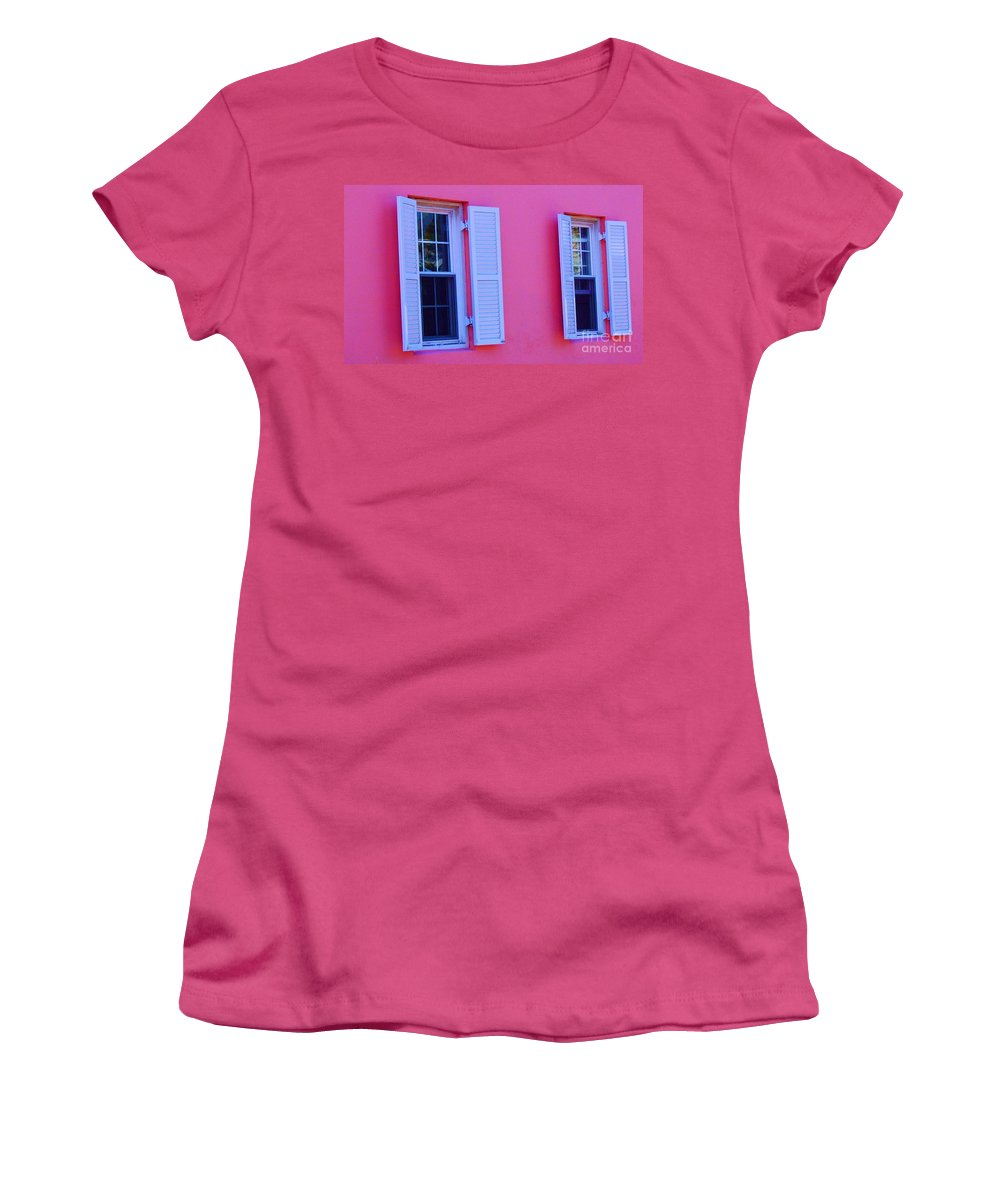 Shutters Women's T-Shirt (Athletic Fit) featuring the photograph In The Pink by Debbi Granruth