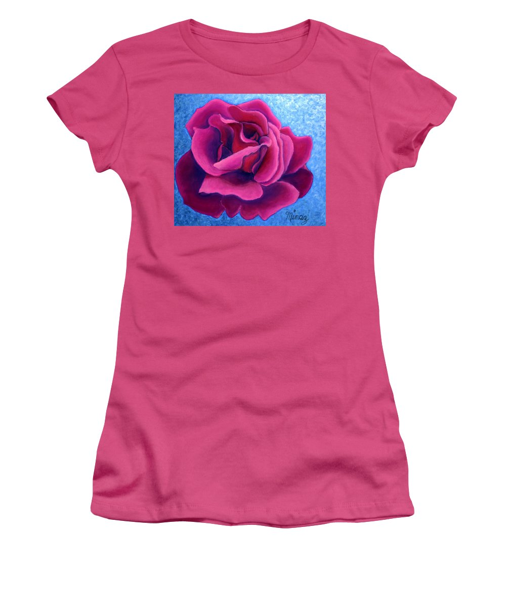 Rose. Pink Rose Women's T-Shirt (Athletic Fit) featuring the painting A Rose Is A Rose.. by Minaz Jantz