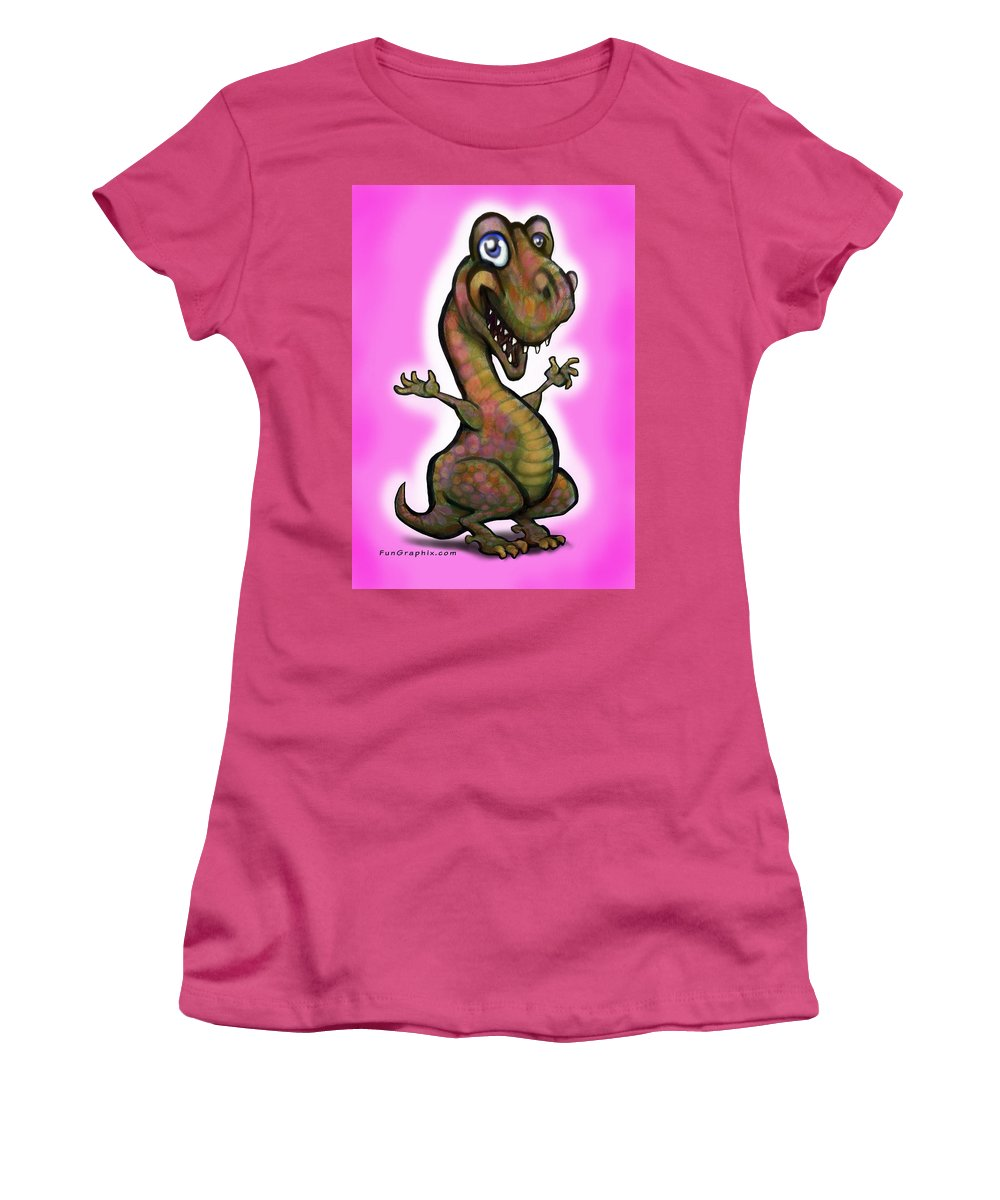 Baby Women's T-Shirt (Athletic Fit) featuring the painting Baby T-rex Pink by Kevin Middleton