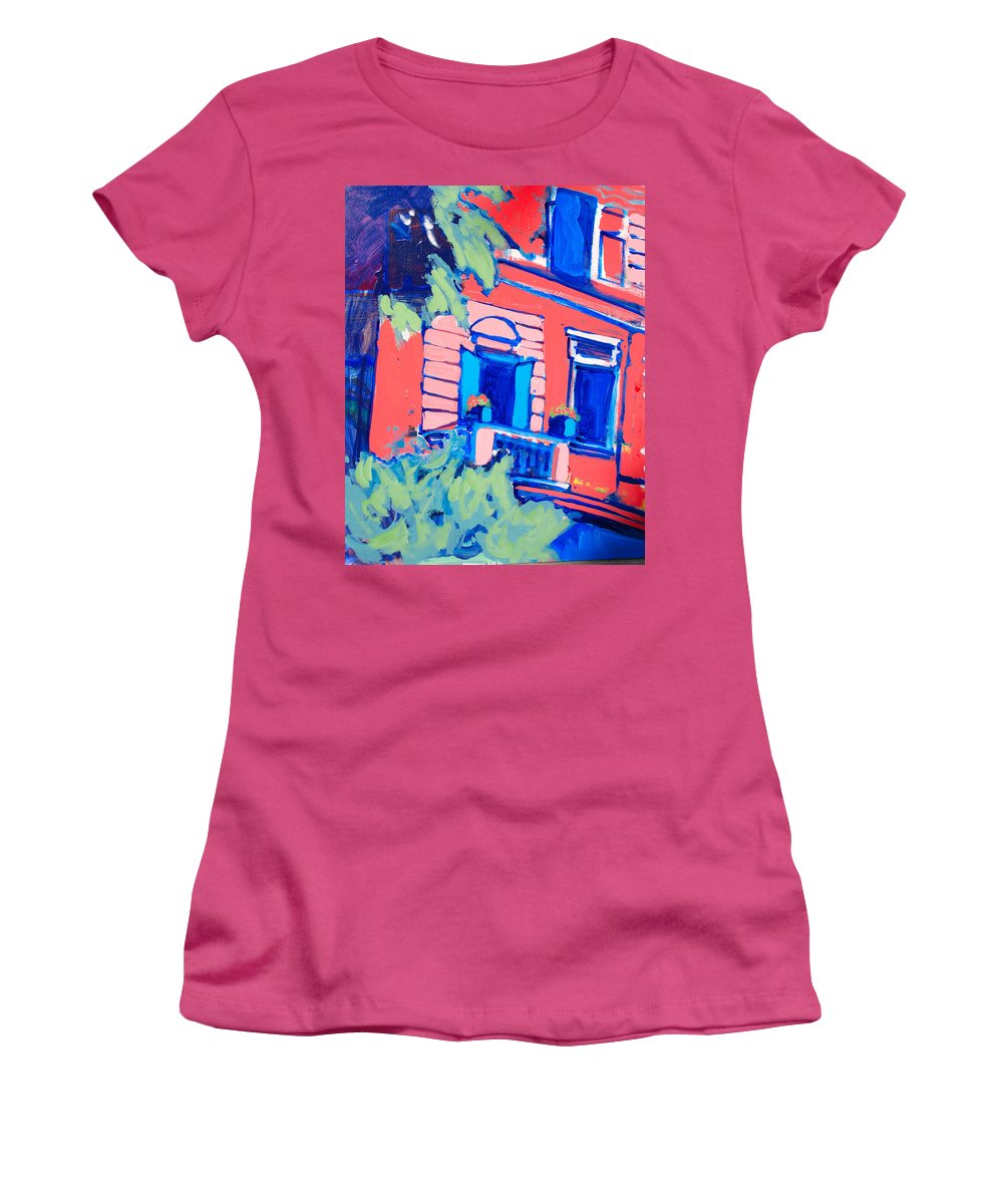 Balcony Women's T-Shirt (Athletic Fit) featuring the painting Balcone by Kurt Hausmann