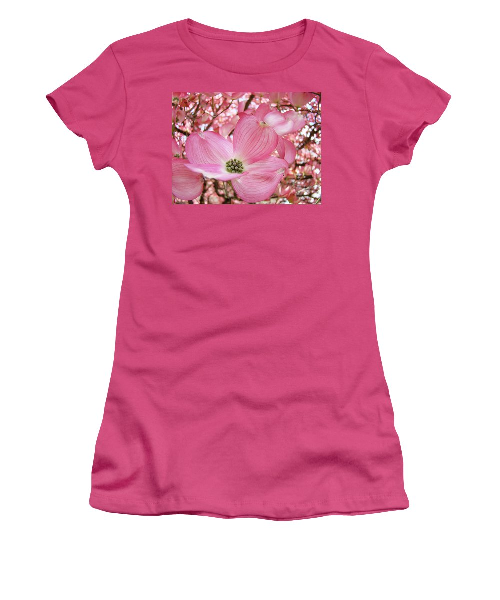 Dogwood Women's T-Shirt (Athletic Fit) featuring the photograph Dogwood Tree 1 Pink Dogwood Flowers Artwork Art Prints Canvas Framed Cards by Baslee Troutman