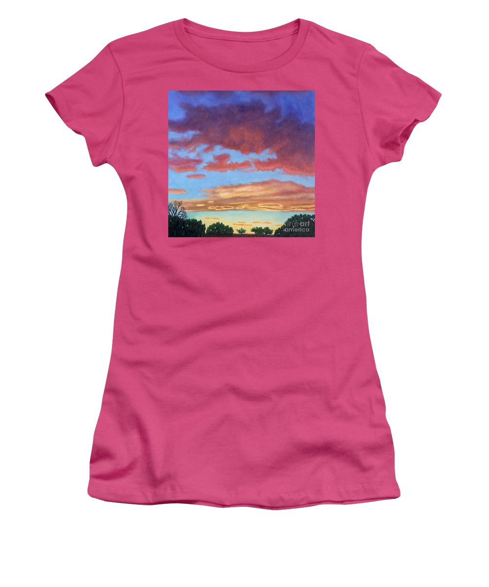 Sunset Women's T-Shirt (Athletic Fit) featuring the painting El Dorado Sunset by Brian Commerford