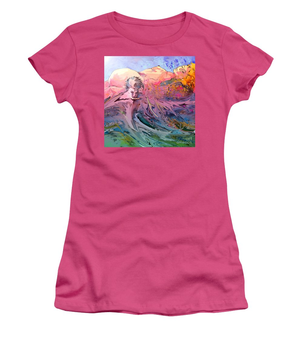 Miki Women's T-Shirt (Athletic Fit) featuring the painting Eroscape 10 by Miki De Goodaboom