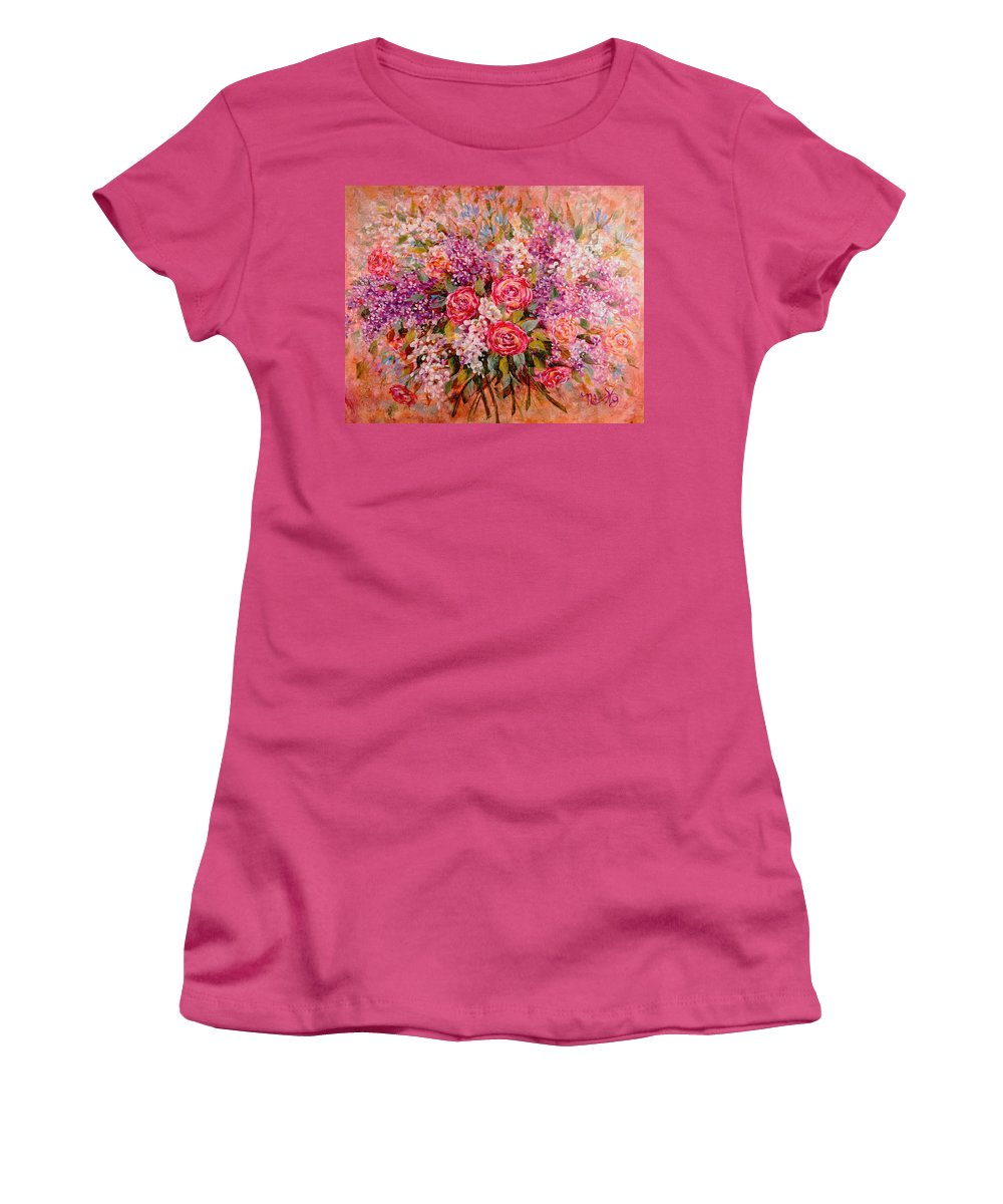 Romantic Flowers Women's T-Shirt (Athletic Fit) featuring the painting Flowers Of Romance by Natalie Holland