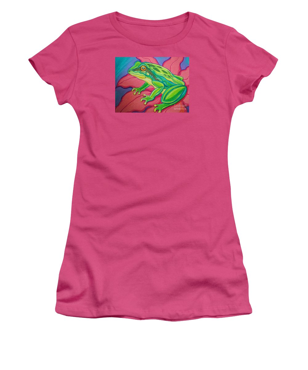 Frog Women's T-Shirt (Athletic Fit) featuring the drawing Frog On Flower by Nick Gustafson