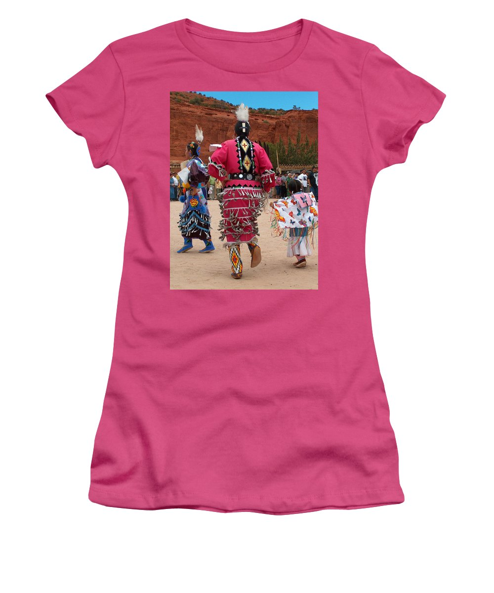 Pow-wow Women's T-Shirt (Athletic Fit) featuring the photograph Jingle Dress And Fancy Shawl Dancers by Tim McCarthy