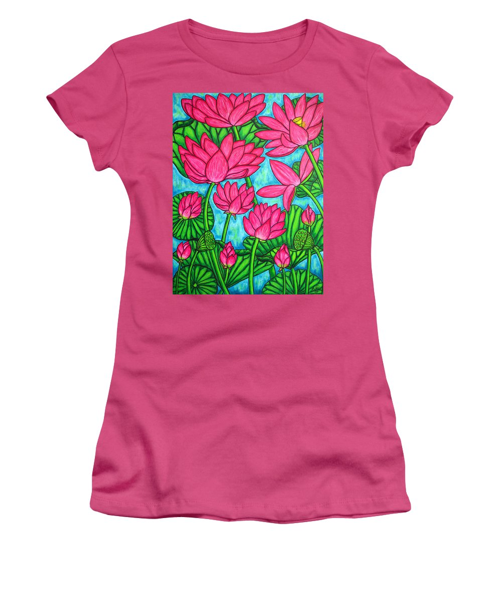 Women's T-Shirt (Athletic Fit) featuring the painting Lotus Bliss by Lisa Lorenz