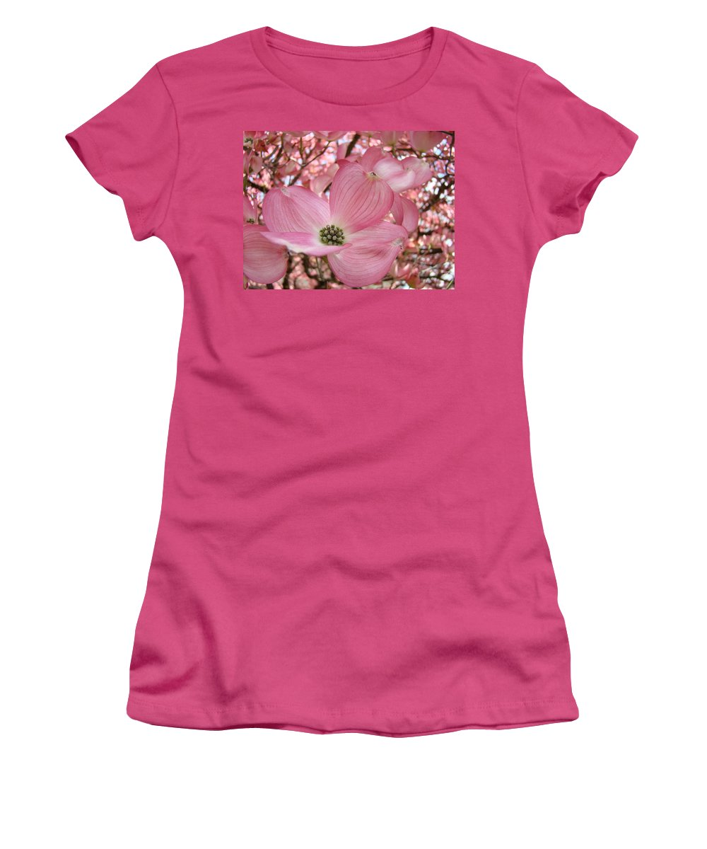 Dogwood Women's T-Shirt (Athletic Fit) featuring the photograph Office Art Prints Pink Flowering Dogwood Tree 1 Giclee Prints Baslee Troutman by Baslee Troutman