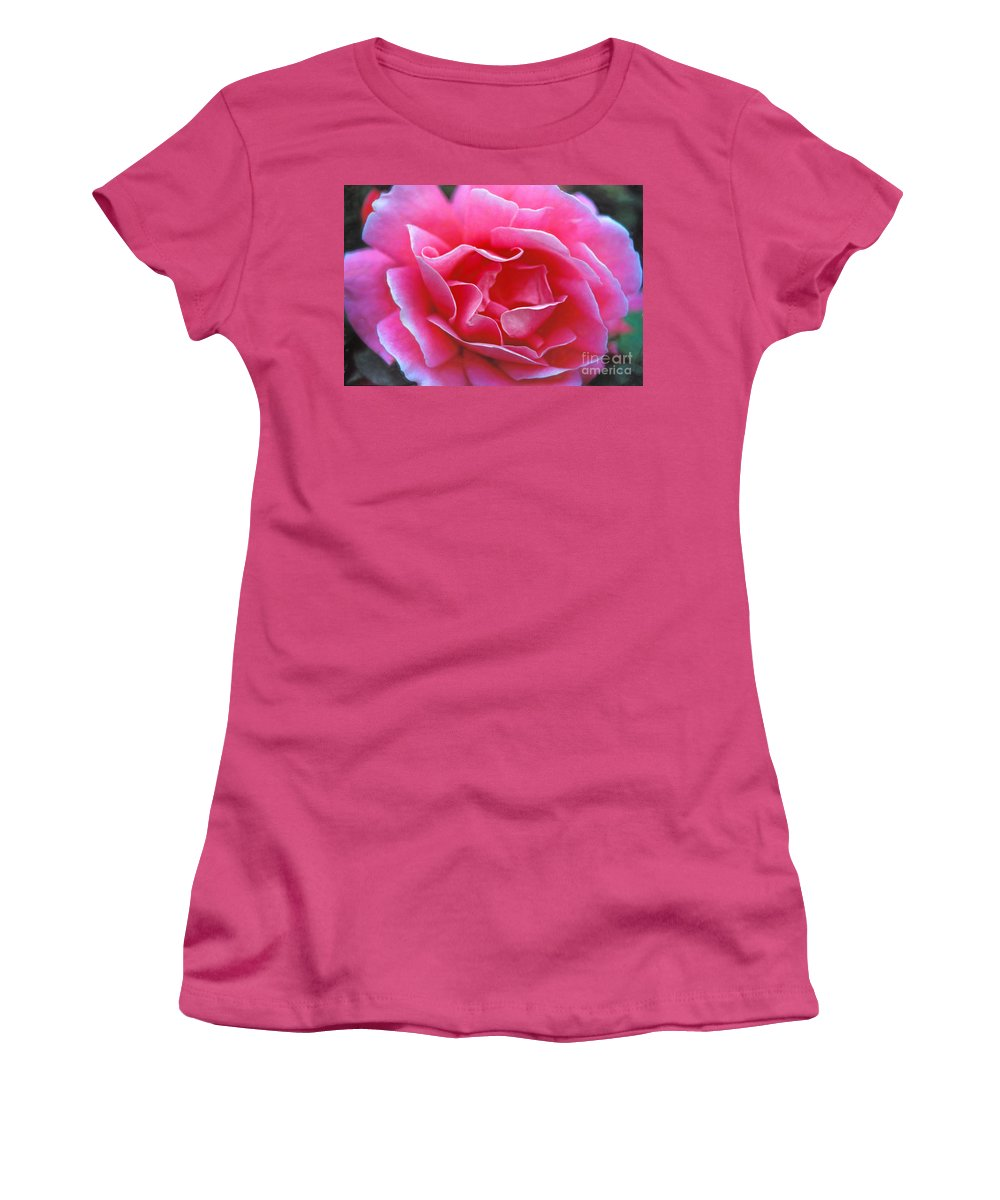 Peggy Lee Rose Women's T-Shirt (Athletic Fit) featuring the photograph Peggy Lee Rose Bridal Pink by David Zanzinger