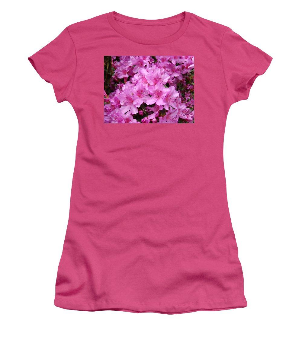 �azaleas Artwork� Women's T-Shirt (Athletic Fit) featuring the photograph Pink Azaleas Summer Garden 6 Azalea Flowers Giclee Art Prints Baslee Troutman by Baslee Troutman