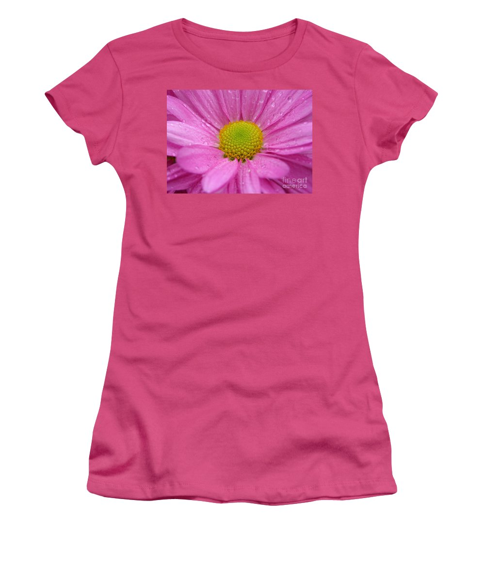 Pink Daisy Women's T-Shirt (Athletic Fit) featuring the photograph Pink Daisy With Raindrops by Carol Groenen
