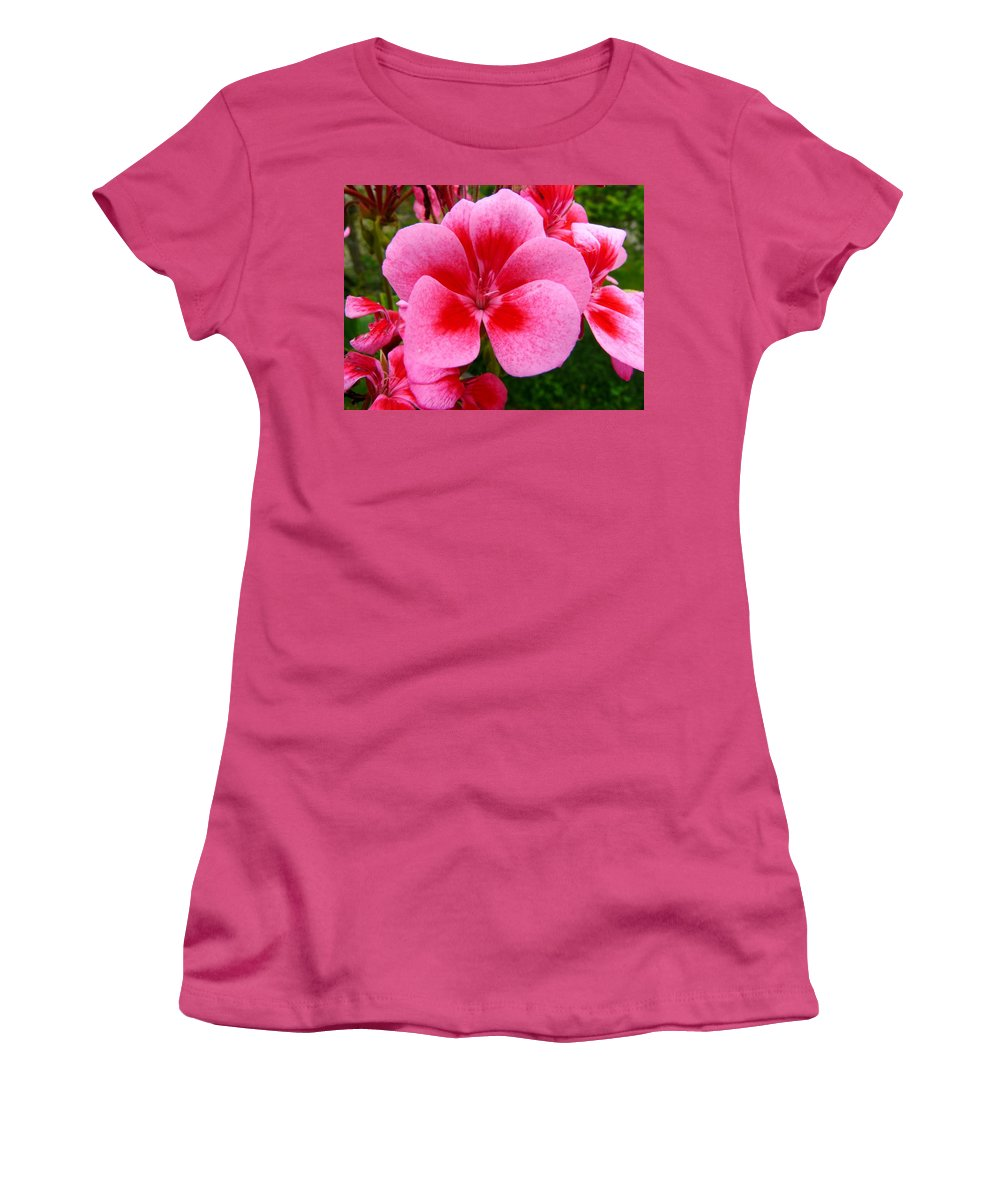 Plant Women's T-Shirt (Athletic Fit) featuring the photograph Pink Geranium Blossom by Valerie Ornstein
