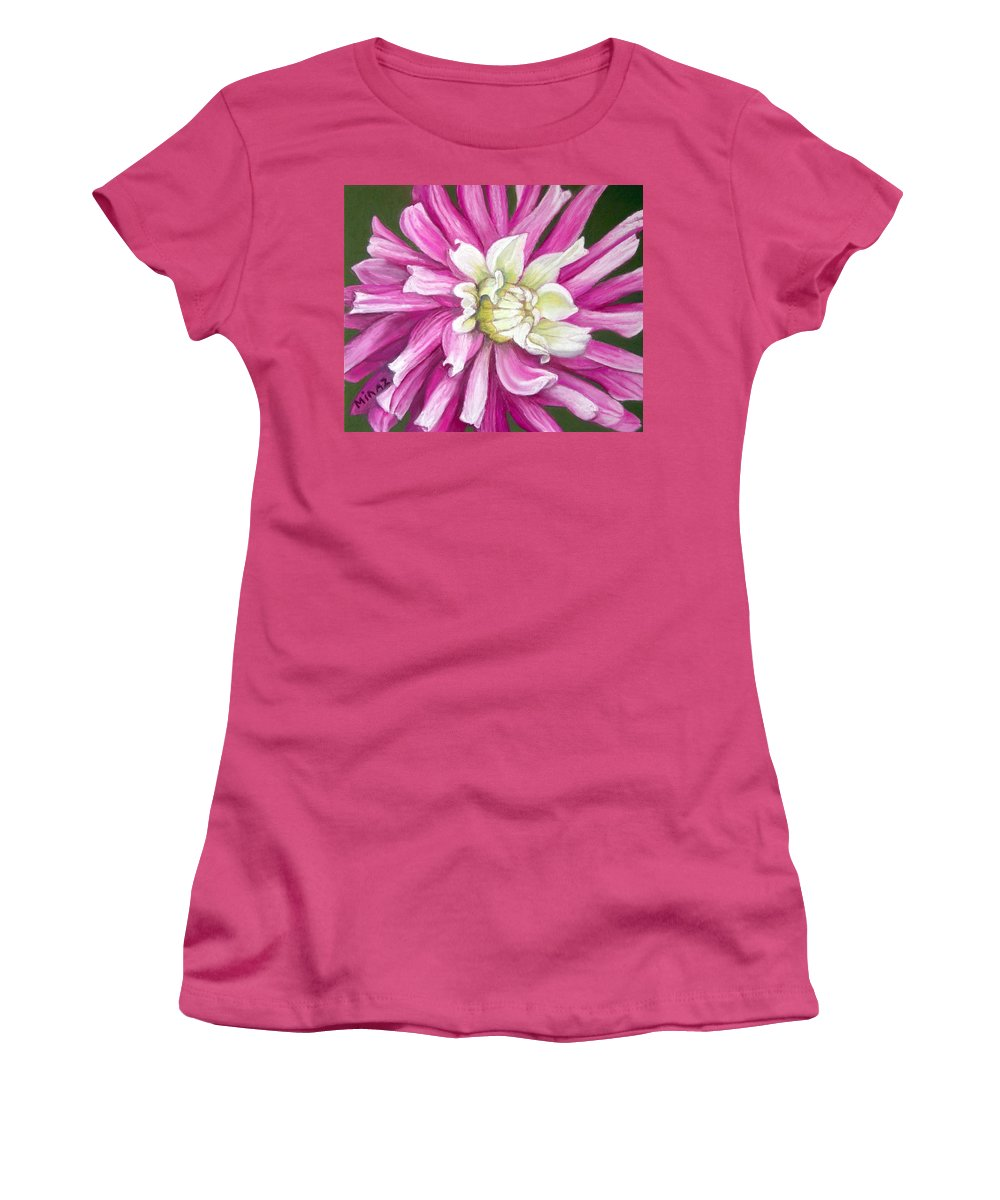 Floral Women's T-Shirt (Athletic Fit) featuring the painting Pink Petal Blast by Minaz Jantz