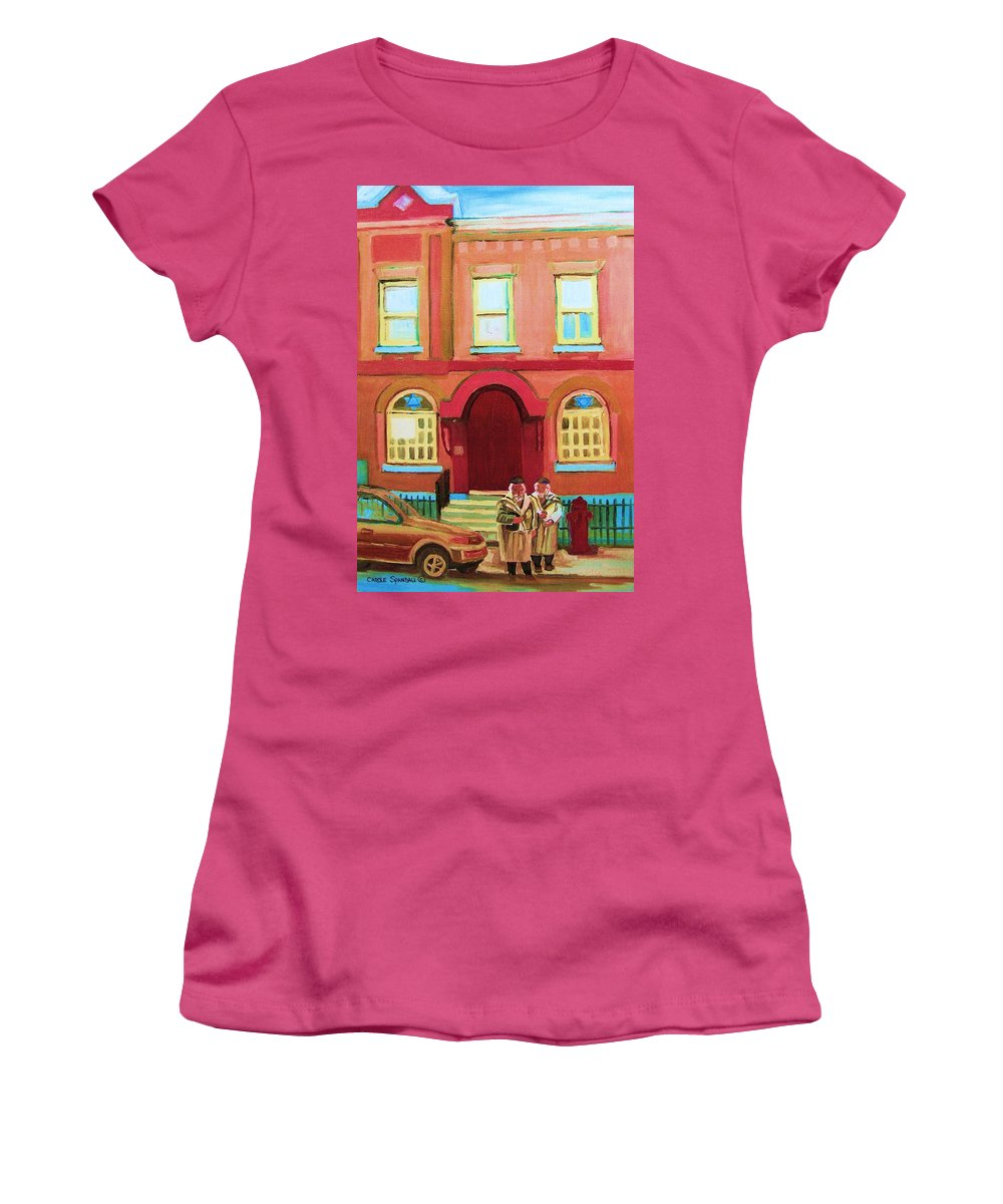 Bagg Street Synagogue Women's T-Shirt (Athletic Fit) featuring the painting Prayer Shawls by Carole Spandau
