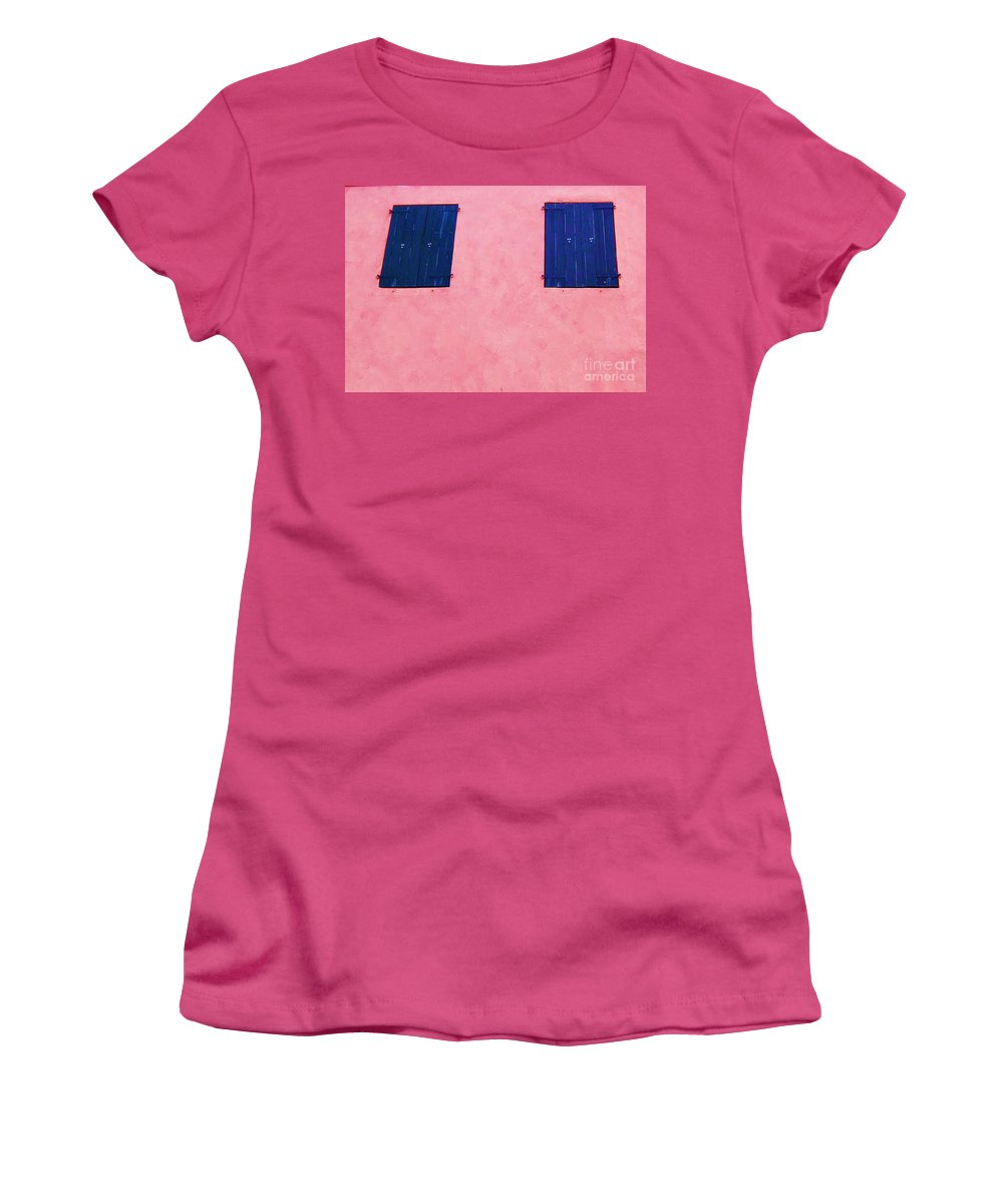 Shutters Women's T-Shirt (Athletic Fit) featuring the photograph Pretty In Pink by Debbi Granruth