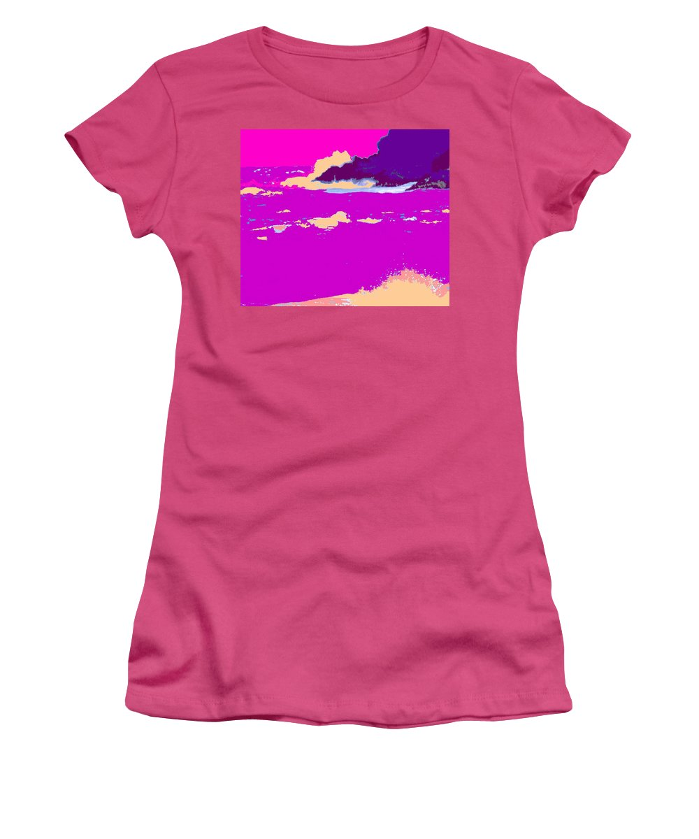 Waves Women's T-Shirt (Athletic Fit) featuring the photograph Purple Crashing Waves by Ian MacDonald