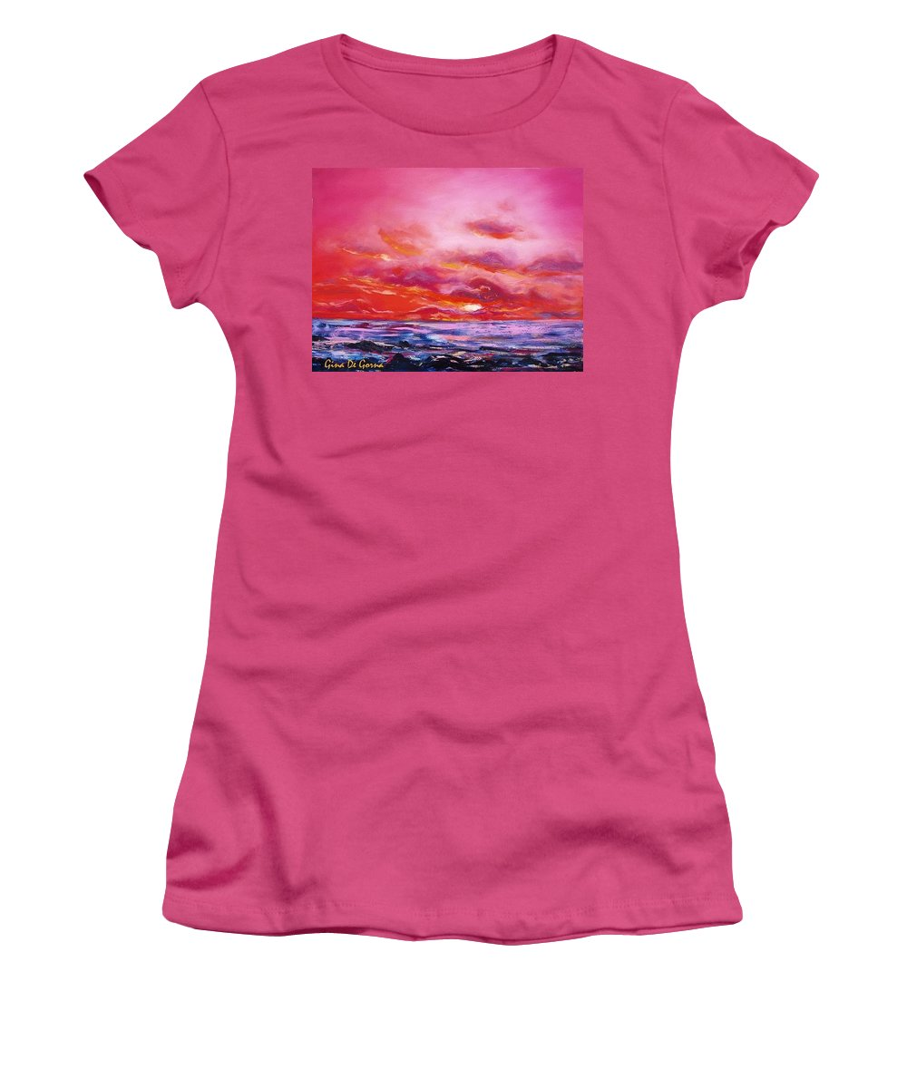 Red Women's T-Shirt (Athletic Fit) featuring the painting Red Sunset by Gina De Gorna