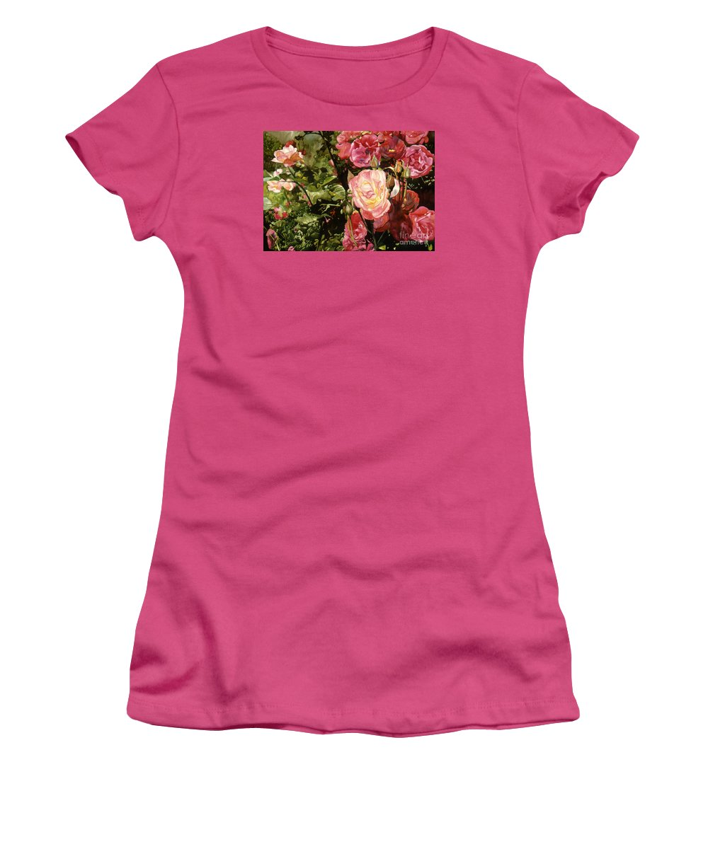 Watercolor Women's T-Shirt (Athletic Fit) featuring the painting Rose Garden by Teri Starkweather