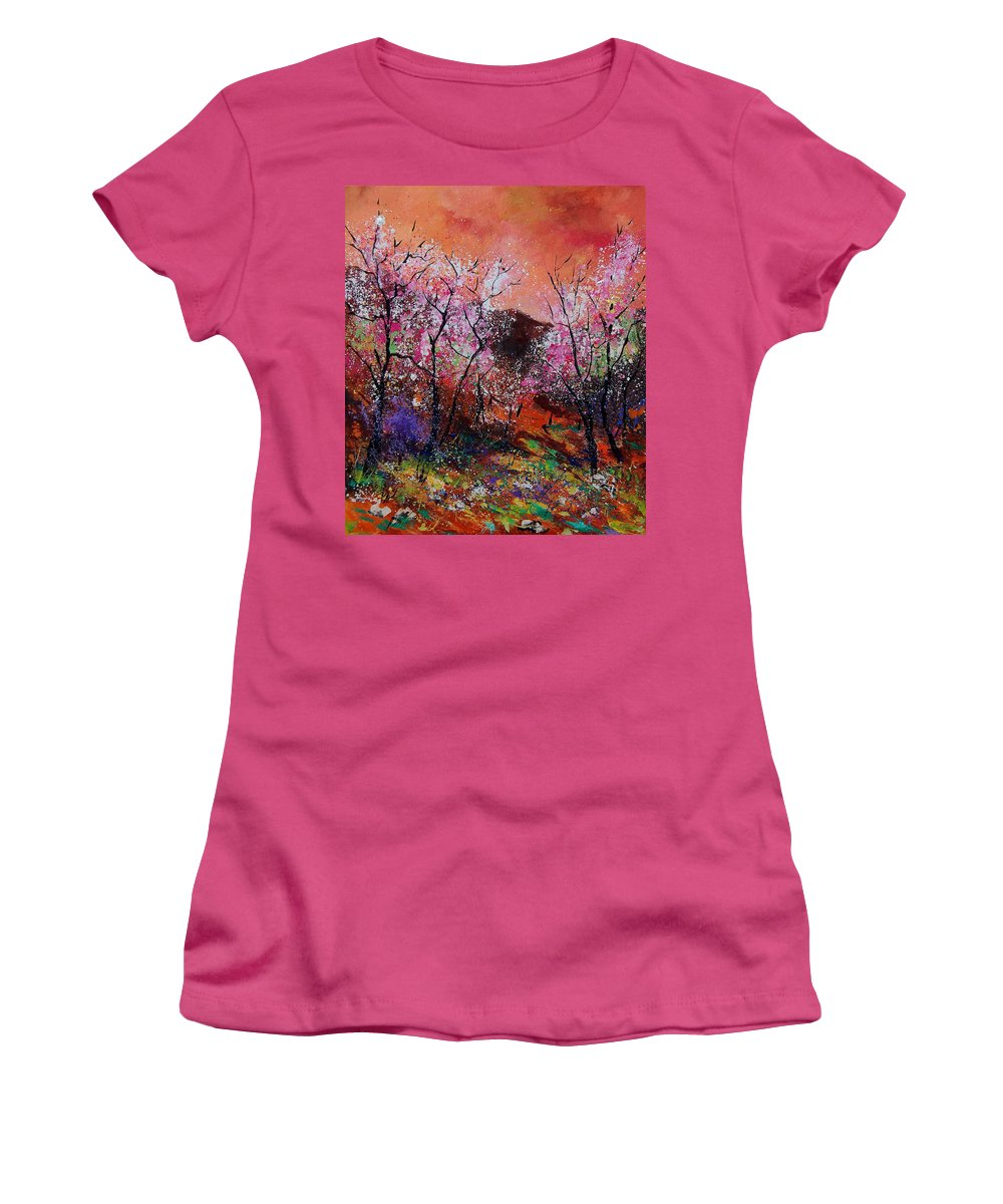 Spring Women's T-Shirt (Athletic Fit) featuring the painting Spring Near My Home by Pol Ledent